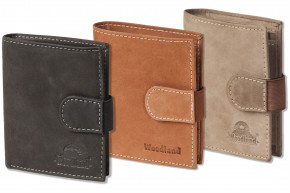 Woodland® Super-Kompakte Geldbörse mit XXL-Kreditkartentaschen für 18 Karten aus naturbelassenem Büffelleder