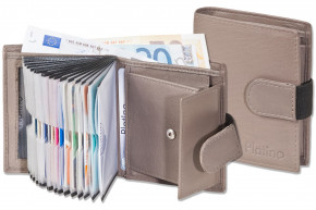 Platino - Super-Compact purse with XXL credit card pockets and 16 card made of natural leather in