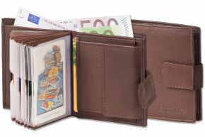 Platino - Super-Compact purse with XXL credit card pockets and 16 card made of natural leather in dark-brown
