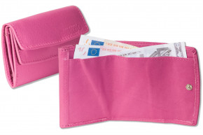 Rinaldo® Kleine Geldbörse mit dem Protecto® RFID/NFC-Blocker Schutz, Hartgeldfach + Geldscheinfach aus weichem Rind Nappaleder in Rosa