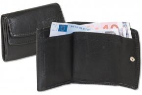 Rinaldo®Kleine Geldbörse mit Hartgeldfach und Geldscheinfach aus weichem Rind Nappaleder in Schwarz