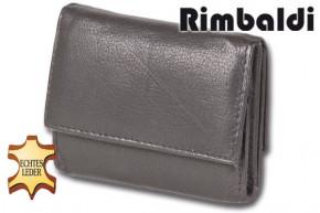 Rimbaldi® Geldbörse mit Hartgeldfach und Geldscheinfach aus naturbelassenem, weichem Rindsleder in Schwarz