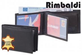 Rinaldo - Mini-Geldbörse mit Hartgeldfach aus naturbelassenem Rinderleder in Schwarz