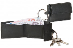 Rinaldo® Micro-wallet in horizontal format with key ring made from soft, untreated cow leather in black cow-skin