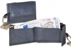 Rimbaldi® Micro-Geldbörse im Querformat mit Schlüsselring aus weichem, naturbelassenem Kalbsleder in Marineblau