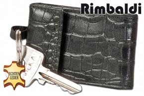 Rimbaldi® - Micro-Geldbörse mit Schlüsselring aus stabilem Rinderleder in Schwarz mit Krokoprägung