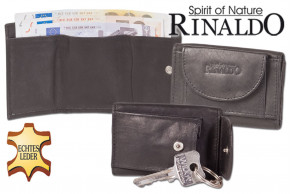 Rinaldo® Mini wallet with billfolds + key pocket with chain and key ring made from smooth, untreated cow leather in black