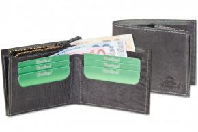 Woodland® Flache Geldbörse aus naturbelassenem Büffelleder in Anthrazit