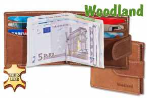 Woodland® Flat wallet with money clip made from fine untreated buff leather in cognac
