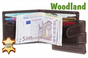 Woodland® Flache Geldbörse mit Geldspange aus feinem naturbelassenem Büffelleder in Dunkelbraun/Taupe