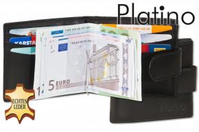 Platino - Money-Clip - Flache Geldbörse mit Metallspange aus feinstem, naturbelassenem schwarzem Rindsleder in First-Class Qualität