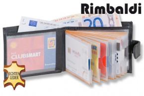 Rimbaldi® Super-Kompakte Minibörse mit vielen Kreditkartenfächern und Außen-Kleingeldfach aus weichem, naturbelassenem Rindsleder in Schwarz