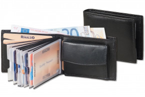 Rinaldo® Mini-Geldbörse mit 8 Klarsicht-Kreditkartenfächern und Super-Coin Hartgeldfach aus naturbelassenem Rindsleder in Schwarz