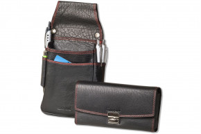 Rimbaldi® Profi Kellnerbörse mit Holster aus schwarzem Büffelleder mit roten Ziernähten