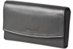 Rimbaldi® Profi Kellnerbörse mit speziell verstärktes Hartgeldfach aus naturbelassenem, weichem Rindsleder in Schwarz