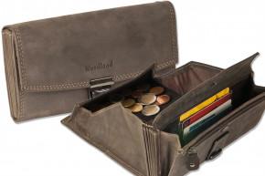 Woodland® Profi Kellnerbörse mit speziell verstärktes Hartgeldfach aus Büffelleder in Dunkelbraun