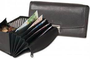 Platino -  Profi Kellnerbörse mit speziell verstärktem Hartgeldfach aus naturbelassenem, weichem Rindsleder in Schwarz