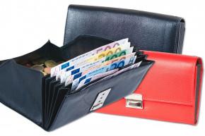 Rinaldo® Preiswerte Kellnerbörse mit verstärktem Boden im großem Hartgeldfach aus glattem Rindsleder