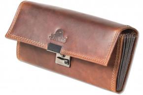 Woodland - Kellnerbörse mit großem verstärktem Hartgeldfach aus hochwertigem Rindsleder in Cognac/Multicolour