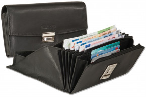 Rimbaldi® - professional waiter wallet with full leather bottom in the coin compartment made of natural cow leather in black