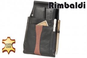 Rimbaldi® Design Kellnerbörse und Holster aus weichem, naturbelassenem Rindsleder in Schwarz/Braun