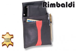 Rimbaldi® Design Kellnerbörse, komplett mit Holster aus weichem naturbelassenem Rindsleder in Schwarz/Rot Kombination