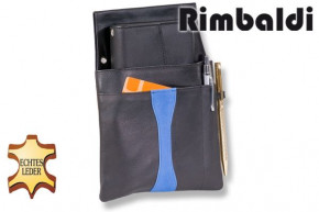 Rimbaldi® Design Waiter wallet complete with soft, natural cow leather holster in black / blue combination