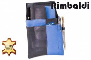Rimbaldi® - Design Waiter wallet complete with holster made of soft natural cow leather in black / royal blue combination