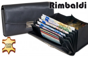Rimbaldi® - Professional waiter wallet with sight window and extra reinforced coin compartment made of soft, natural cow leather in black