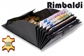 Rimbaldi® Waiter wallet with especially many compartments, suitable for several currencies, made of soft, natural cow leather in black