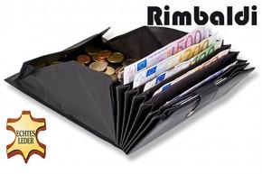 Rimbaldi - Kellnerbörse mit besonders vielen Fächern, geeignet für mehrere Währungen aus weichem, naturbelassenem Kalbsleder in Schwarz