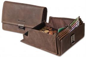 Woodland - Profi-Kellnerbörse mit extra verstärktem Hartgeldfach aus weichem, naturbelassenem Büffelleder in Dunkelbraun