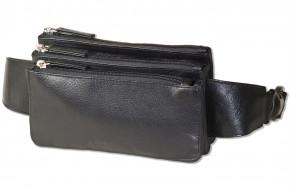 Flache Bauchtasche mit Vortasche für ein großes Smartphone aus feinem Rind-Nappaleder in Schwarz von Rimbaldi®