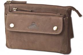 Flache Bauchtasche mit Vortasche für ein großes Smartphone aus naturbelassenem Büffelleder in Anthrazit