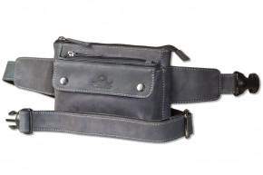 Woodland® - Flache Bauchtasche mit Vortasche für ein großes Smartphone aus naturbelassenem Büffelleder in Anthrazit
