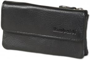 Rimbaldi® Doppel-Schlüsseltasche fürAutoschlüssel und Hausschlüssel aus hochwertigem Rind-Nappaleder in Schwarz