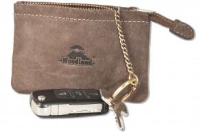 Woodland® RFID CAR PROTECTION Schlüsseltasche für den Autoschlüssel aus naturbelassenem Büffelleder in Dunkelbraun/Taupe