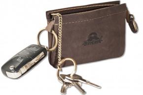 Woodland® RFID CAR PROTECTION Doppel-Schlüsseltasche für den Autoschlüssel und normale Schlüssel aus naturbelassenem Büffelleder in Dunkelbraun/Taupe