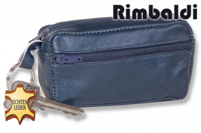 Rinaldo® Large key pocket with extra compartment made of soft, untreated cow leather in navyblue