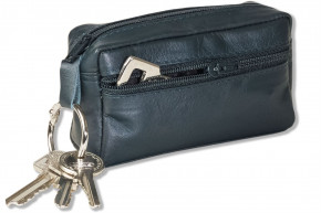 Rimbaldi® Large key pocket with extra compartment made of soft, untreated cow leather in anthracite