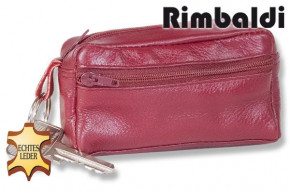 Rimbaldi® Large key pocket with extra compartment made of soft, untreated cow leather in cherry
