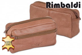 Rimbaldi® Large key pocket with extra compartment made of soft, untreated cow leather in camel