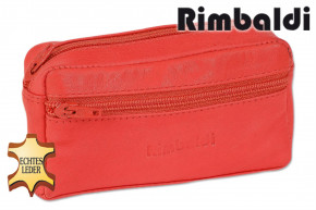 Rimbaldi®Large key pocket with extra compartment made from soft, untreated calf leather in red