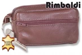 Rimbaldi® Große Schlüsseltasche mit Extrafach aus weichem, naturbelassenem Rindsleder in Dunkelbraun