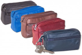 Rimbaldi® - Large key pocket with extra compartment made from soft, untreated cow leather in dark-gr