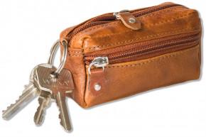 Wild Nature® Leder-Schlüsseltasche mit 2 Schlüsselringe aus Multicolor Leder in Cognac