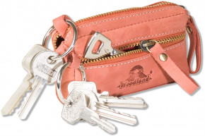 Woodland® - Leather key bag with 2 key chains made of soft, untreated buffalo leather in red