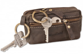 Woodland® Leather key bag with 2 key rings made of soft, untreated buffalo leather in dark-brown/taupe