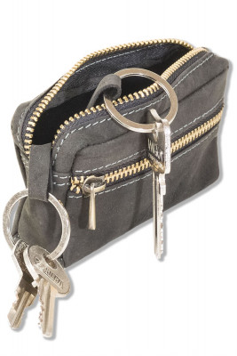 Woodland® Leather key bag with 2 key chains made of soft, untreated buffalo leather in anthracite