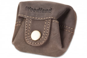 Woodland® Micro-Pocket for coins or small parts made of soft, natural buffalo leather in dark brown / taupe